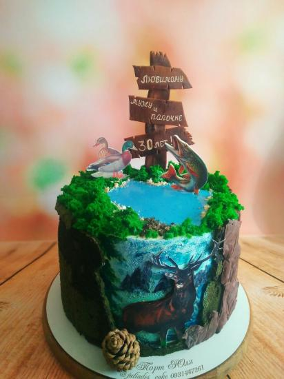 Торт рыбаку-охотнику Внутри ванильный
