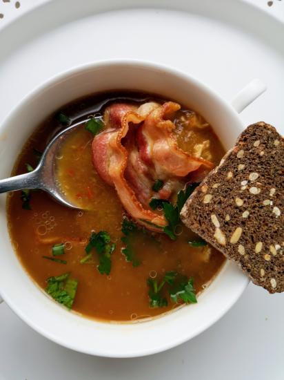 Гороховый суп пюре с беконом и