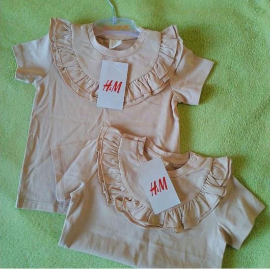 Бежевые нарядные футболочки H&M