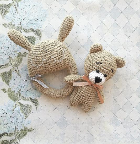 Милые Мишка и Зайка-погремушка